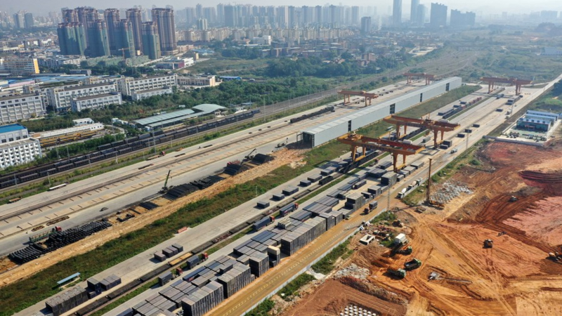 Aerial photo taken on Nov. 11, 2020 shows the Nanning international railway port in operation in Nanning, south China's Guangxi Zhuang Autonomous Region.