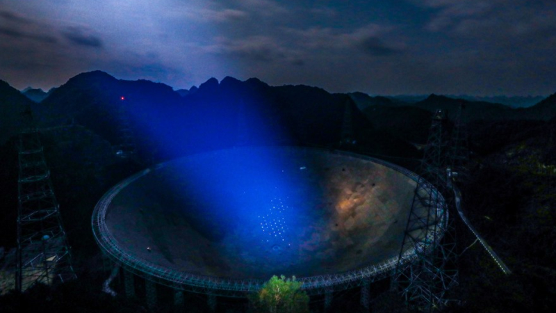 Panoramic photo taken on Jan. 8, 2020 shows China's Five-hundred-meter Aperture Spherical Radio Telescope (FAST) under maintenance in southwest China's Guizhou Province. (Xinhua/Ou Dongqu)