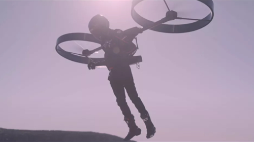 Watch Australian firm's first manned test flight of electric backpack helicopter