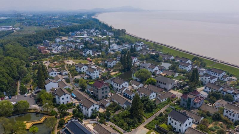 Aerial photo taken on Aug. 26, 2021 shows a view of Xincang Village of Haining City in Jiaxing, east China's Zhejiang Province. (Xinhua/Xu Yu)