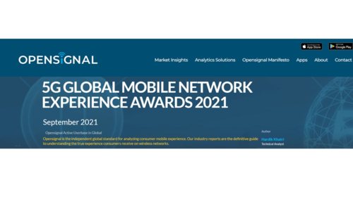 Opensignal announces 5G Global Mobile Network Experience Awards 2021
